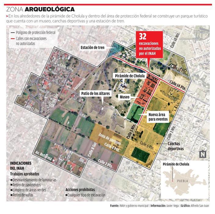Parque Cholula: gobierno de Puebla excava en zona arqueológica sin autorización del INAH