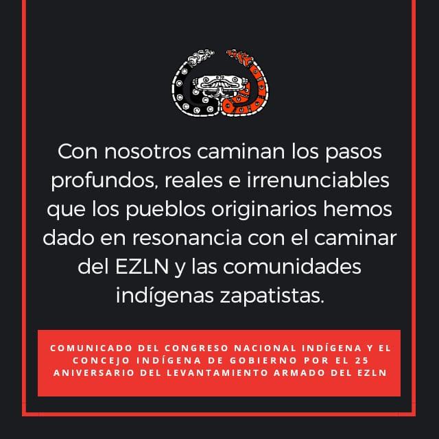 COMUNICADO DEL CONGRESO NACIONAL INDÍGENA Y EL CONCEJO INDÍGENA DE GOBIERNO POR EL 25 ANIVERSARIO DEL LEVANTAMIENTO ARMADO DEL EJÉRCITO ZAPATISTA DE LIBERACIÓN NACIONAL