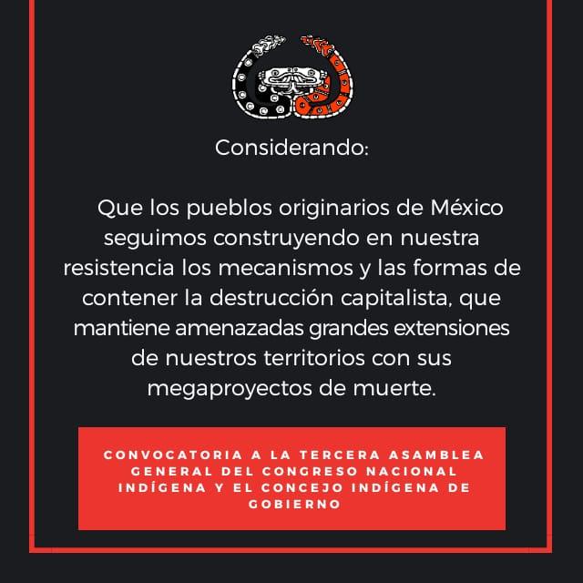 CONVOCATORIA A LA TERCERA ASAMBLEA GENERAL DEL CONGRESO NACIONAL INDÍGENA Y EL CONCEJO INDÍGENA DE GOBIERNO