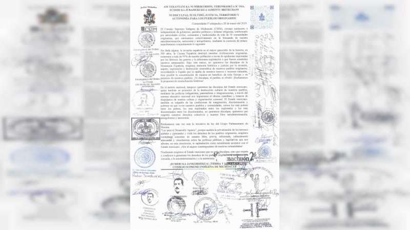Consejo Supremo Indígena de Michoacán rechaza la solicitud de disculpas del Gobierno de México ante la conquista española y exige memoria histórica y justicia