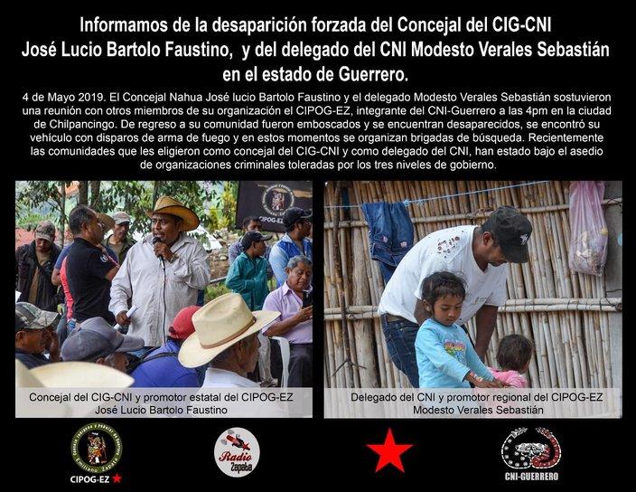 Asesinan al Concejal del CIG-CNI José Lucio Bartolo Faustino y a Modesto Verales, delegado del CNI (Guerrero)