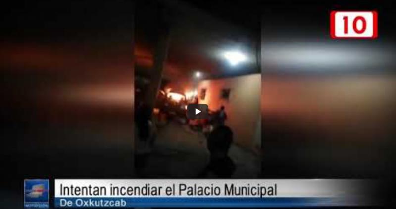 Intentan incendiar el Palacio Municipal de Oxkutzcab (Yucatán)