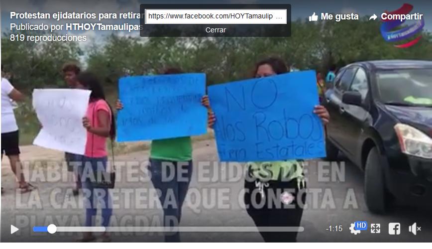 Protestan ejidatarios de Matamoros para exigir se retire el reten de la Estatal (Tamaulipas)