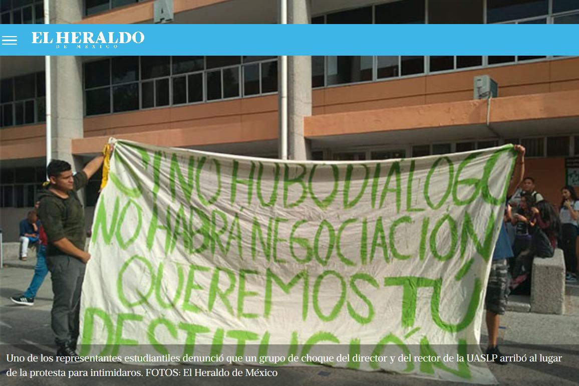 Por acoso, protestan alumnas de la Universidad Autónoma de SLP