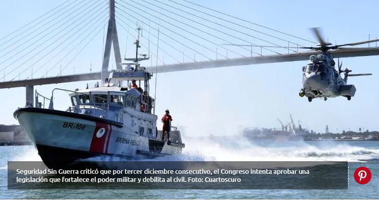 Colectivo Seguridad sin Guerra critica propuesta para vigilancia de la Marina en puertos