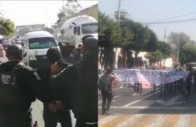 Policías repliegan a golpes manifestación contra aumento de pasaje (Estado de México)