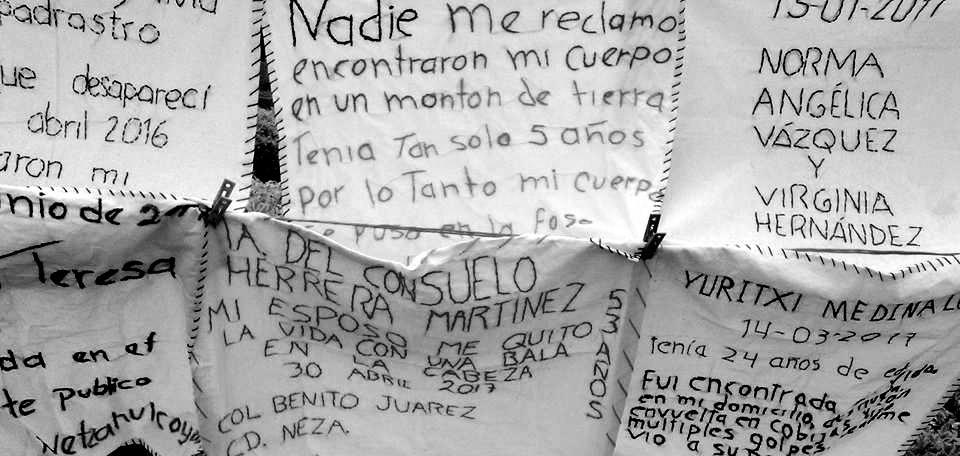 Vivas en la Memoria: mujeres bordan para denunciar feminicidios y desapariciones en Nezahualcóyotl (Estado de México)