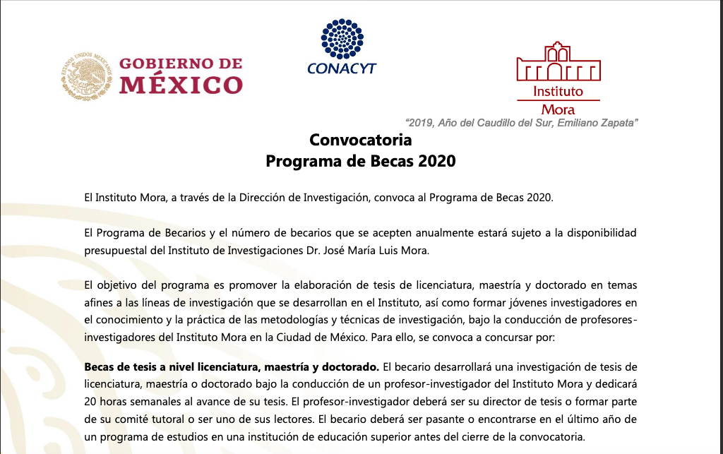 Becarios del Instituto Mora denuncian que Hacienda congeló sus pagos (Ciudad de México)