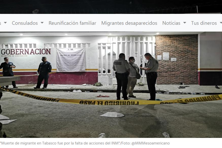 Muerte de migrante en Tabasco fue por la falta de acciones del INM: La 72