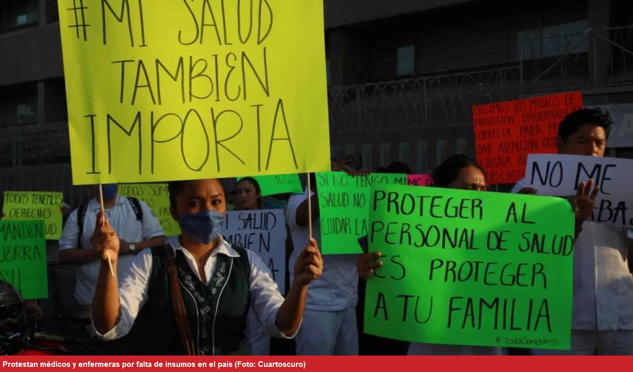 Médicos del país, en riesgo y bajo protesta por la falta de insumos