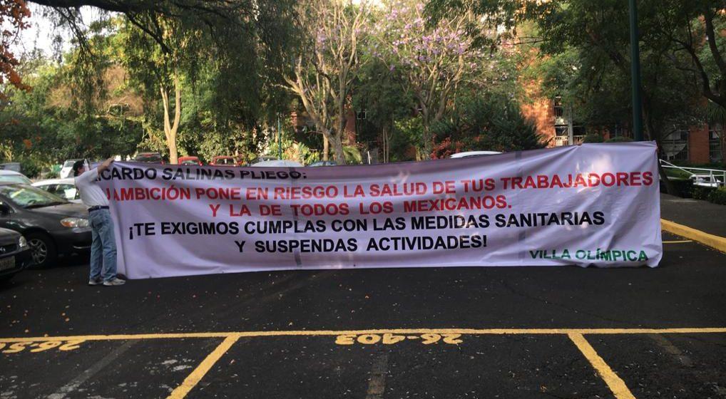 Vecinos de Tlalpan acusan a Grupo Salinas de ponerlos en peligro por obligar a sus empleados a trabajar (Ciudad de México)