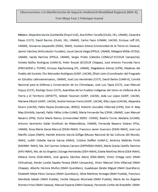 Exhortan 85 científicos y académicos de 15 países a no construir el Tren Maya