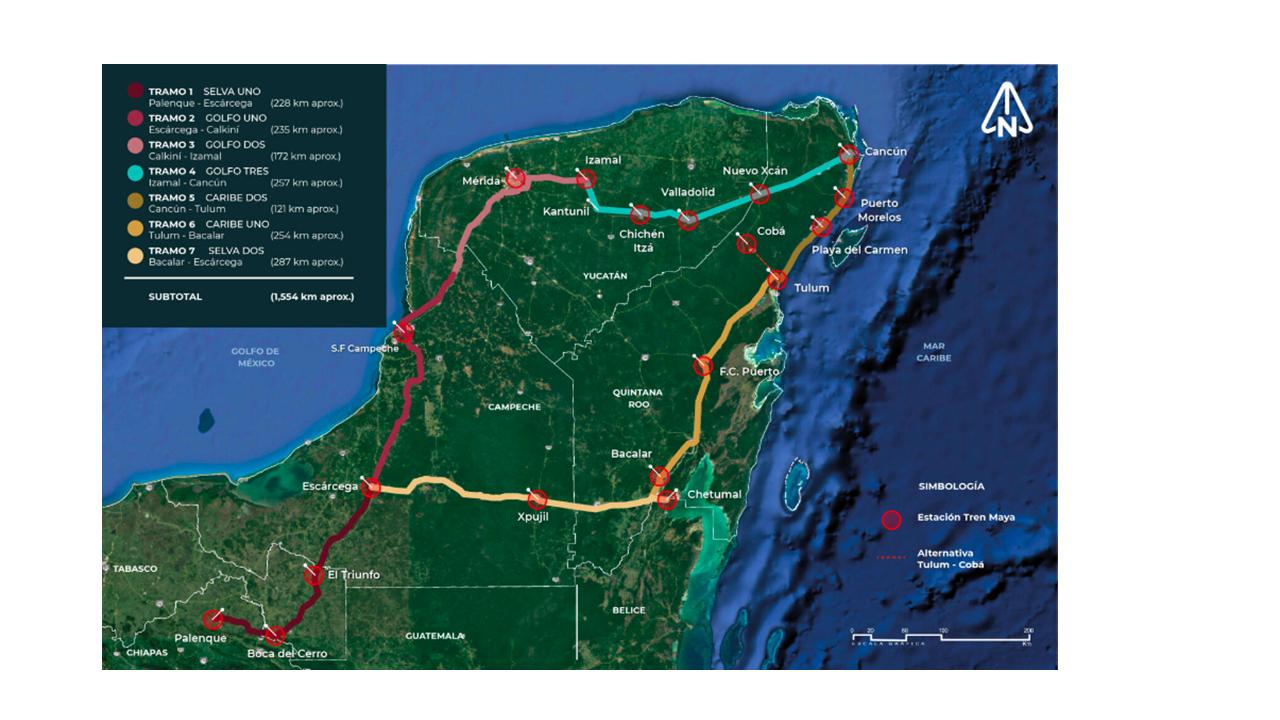 """Los rostros (no tan) ocultos del mal llamado """"tren maya"""". Parte 3: Un mapa de las vías del tren capitalista."""