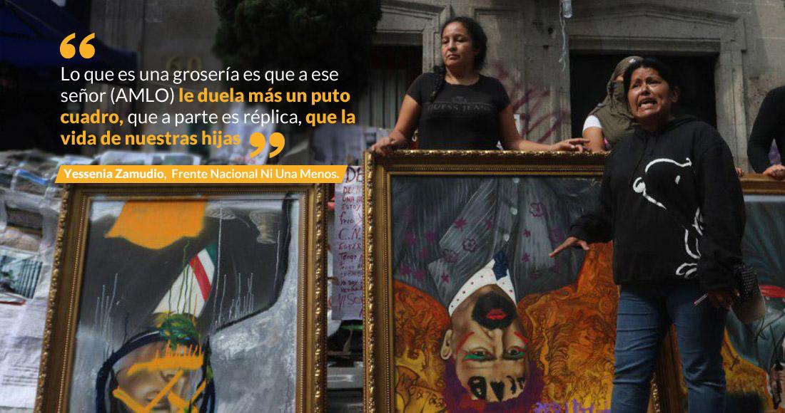 """Mujeres extienden toma de CNDH. """"Somos las víctimas, no vándalas"""" como nos pintan, le dicen a AMLO"""