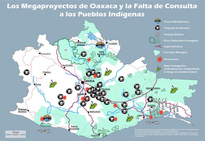Cancelación de megaproyectos de muerte piden pueblos originarios de Oaxaca