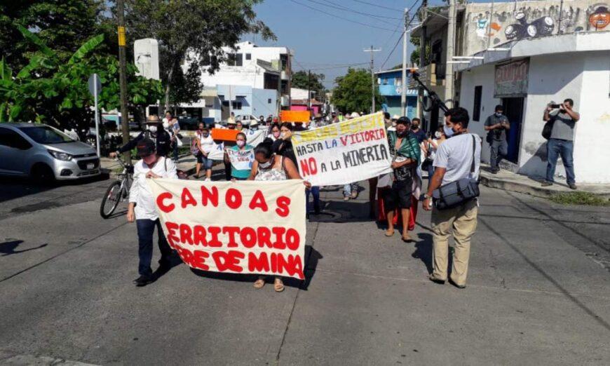 Marchan en Canoas, Colima, contra mineras y el proyecto Rufus 5