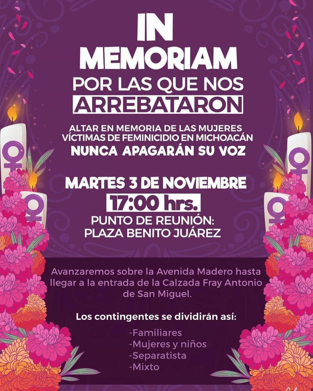 Marcharán en memoria de víctimas de feminicidio (Michoacán)