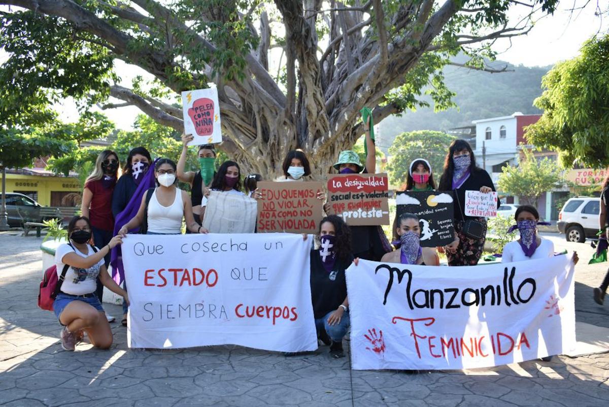 La primera marcha feminista en Manzanillo (Colima)