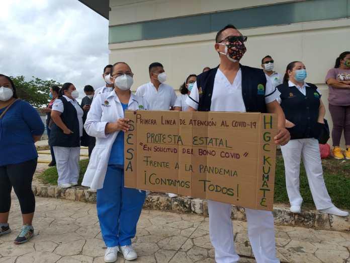 Se extiende reclamo por el  'Bono Covid': Se suma personal del Hospital General de Cancún a protestas por promesa de apoyo presidencial