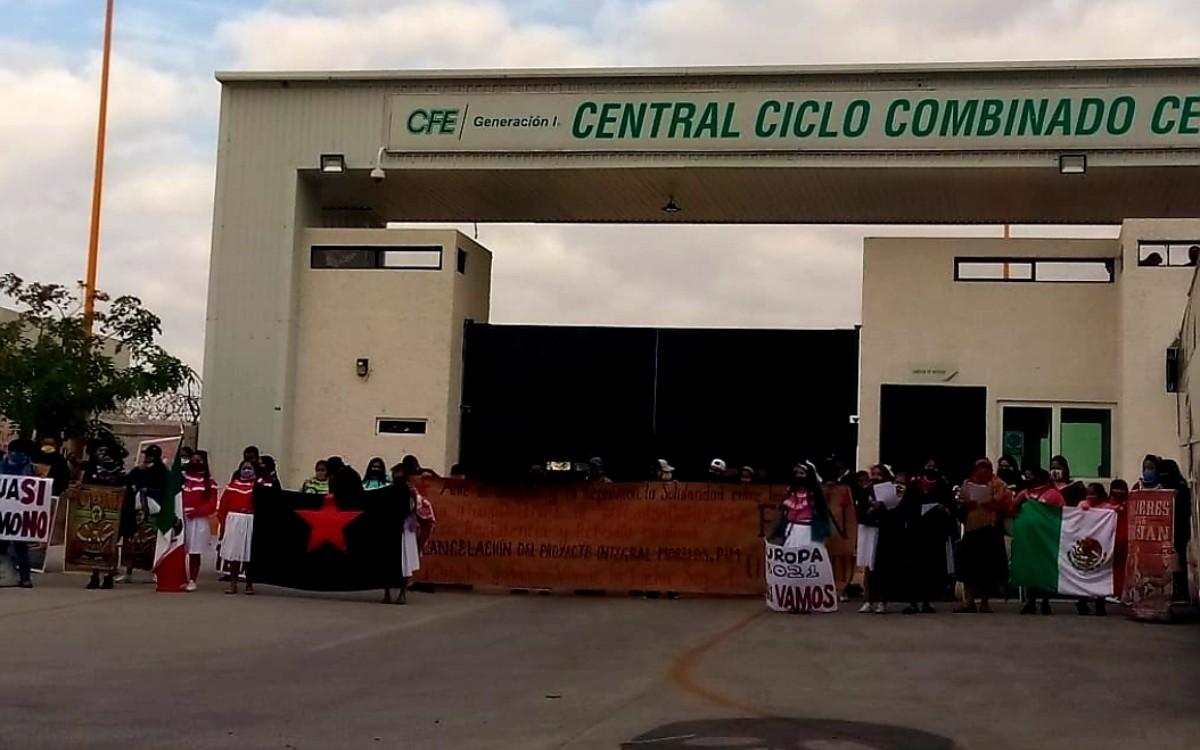 Otomíes protestan en la termoeléctrica de Huexca