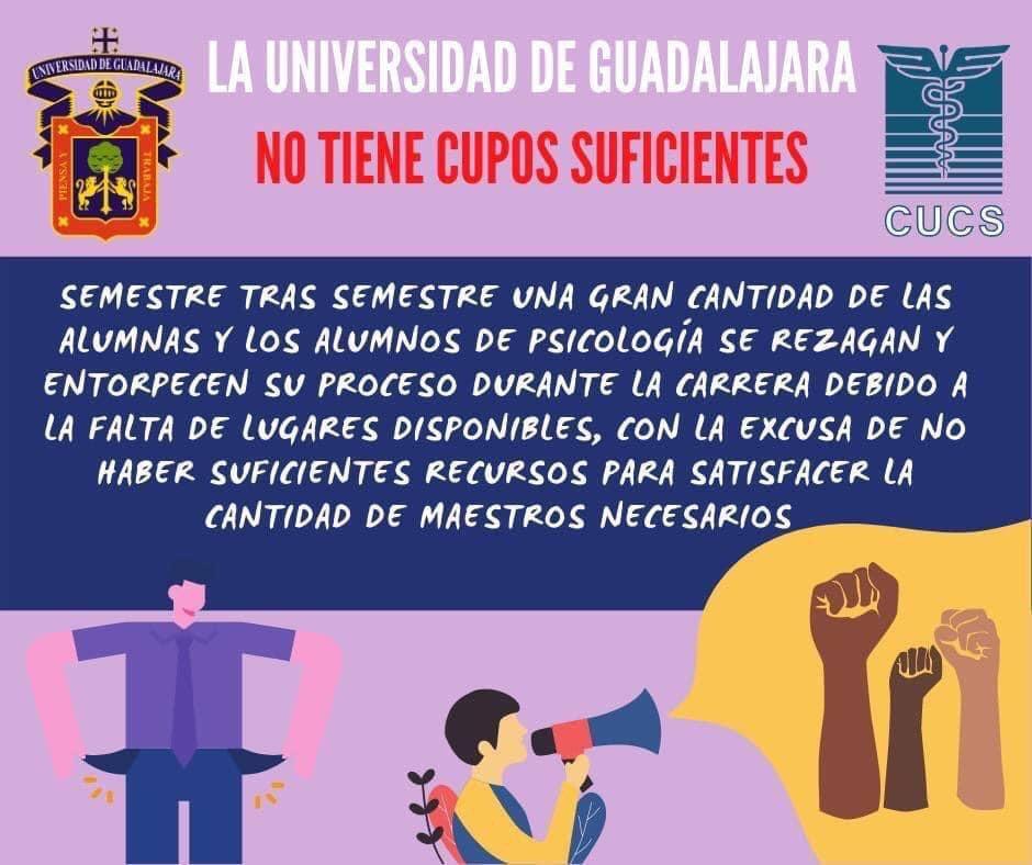 Frente a escasa oferta académica, estudiantes exigen a la UdeG garantizar su acceso a la educación (Jalisco)