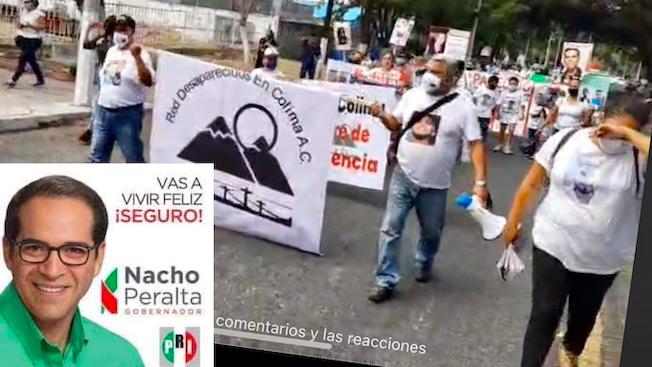 """""""Maldito gobernador"""", """"te vas y nos dejas 1600 desaparecidos""""  (Colima)"""