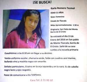 Movilizaciones en Tlaxcala tras la desaparición de la niña Karla Romero