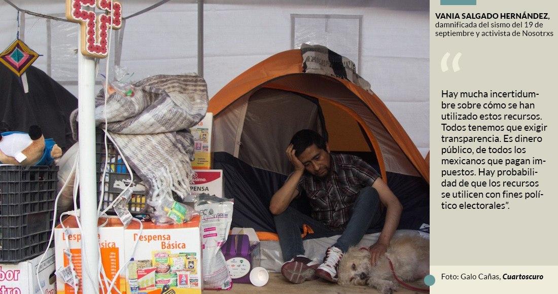 El movimiento Nosotrxs cree que el dinero de los damnificados del sismo se usa para las campañas