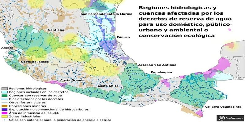 Mapa de cuencas de agua privatizadas y zonas económicas