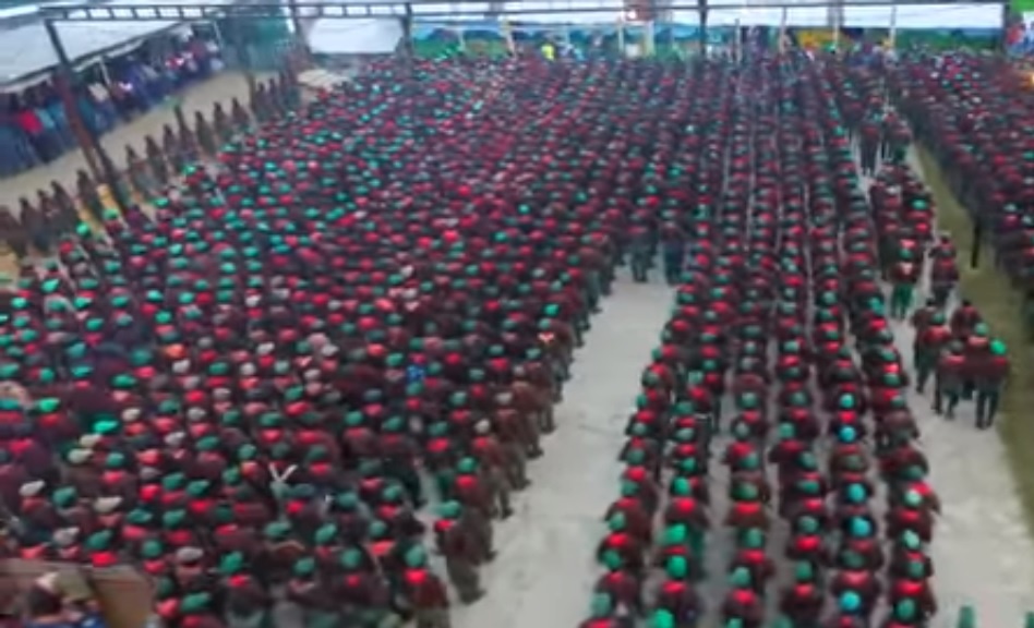 Vista aérea del despliegue de las tropas zapatistas, 31 de diciembre de 2018