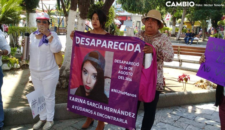Mujeres de Texmelucan exigen en manifestación esclarecer la desaparición de Karina García (Puebla)