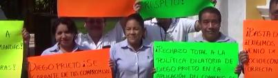 Plantón de trabajadores del INAH Campeche
