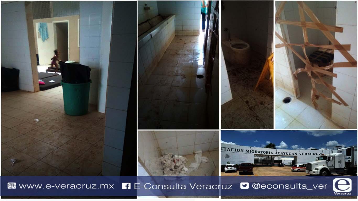 Entre excremento, el INM tiene a migrantes en estación de Acayucan (Veracruz)
