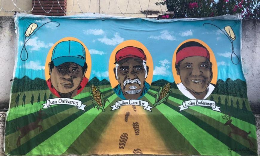 Plasman en mural los rostros de tres defensores indígenas del medio ambiente en Chihuahua