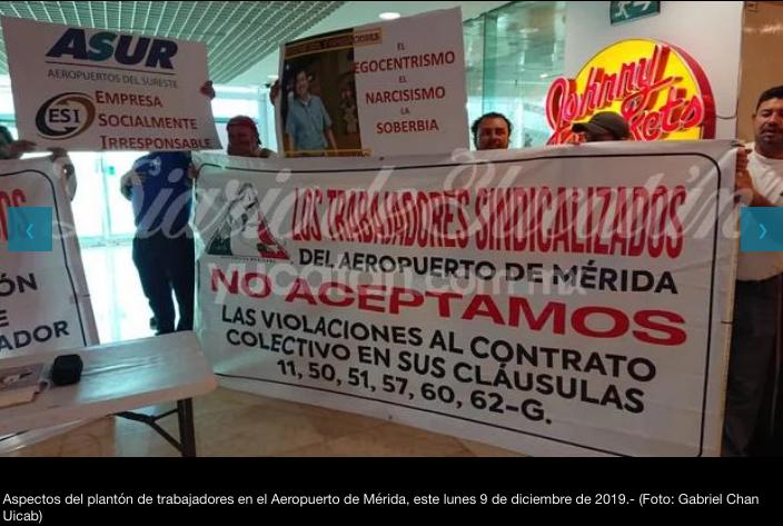 Protesta de trabajadores en los aeropuertos de Mérida y Cancún