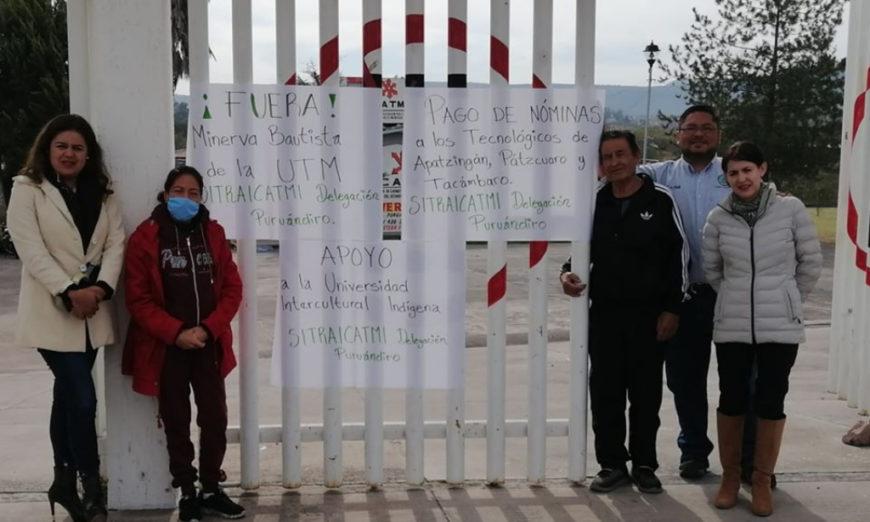 Sindicatos de nivel medio y superior Michoacán protestan por falta de pago de aguinaldo