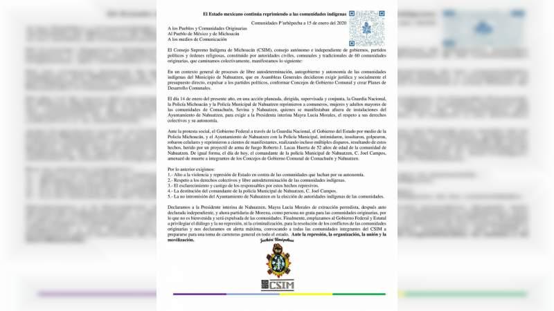 Consejo Supremo Indígena de Michoacán denuncia represión y amenazas de muerte en contra de Concejos Comunales de Comachuén, Sevina y Nahuatzen