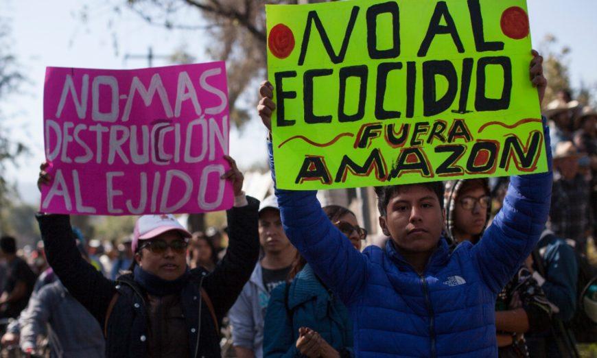 """¡Sheinbaum, te ganó la farándula!, gritan en Xochimilco al """"clausurar"""" sets de Hernán y Mexica (Ciudad de México)"""