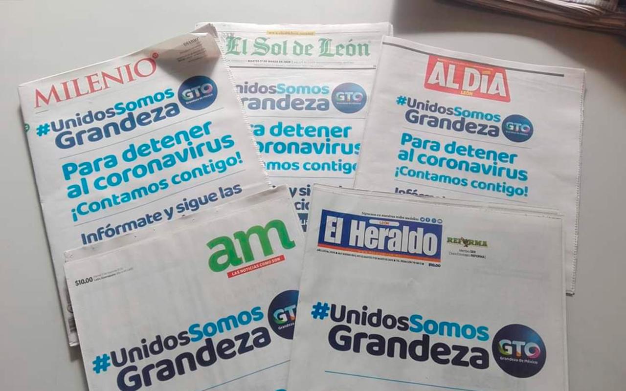 Gobernador de Guanajuato usa crisis sanitaria para promocionarse