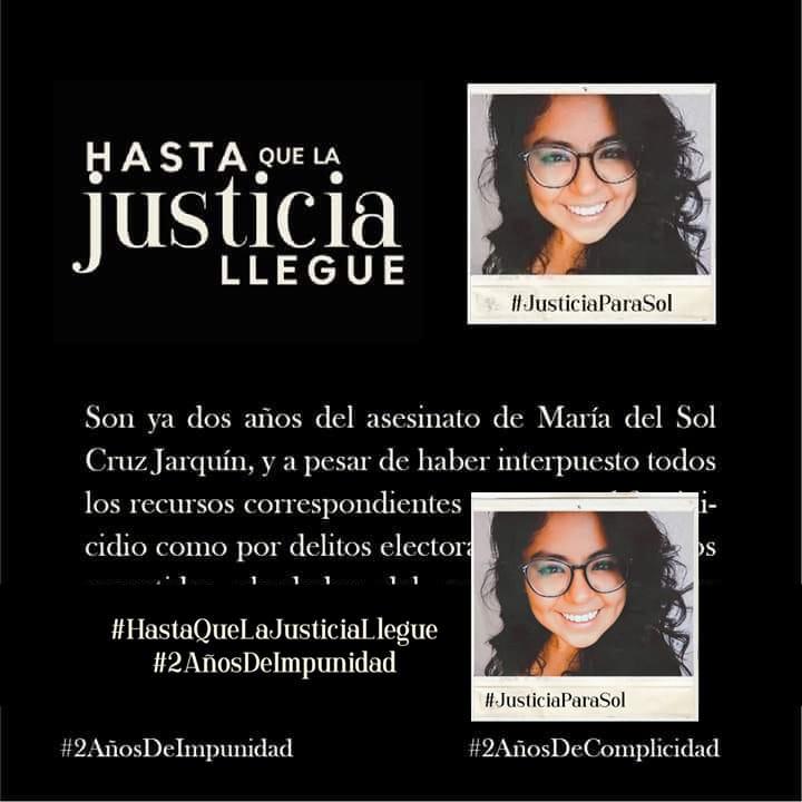 La Justicia para Sol no llega por complicidades, simulación e impunidad del gobierno de Murat (Oaxaca)