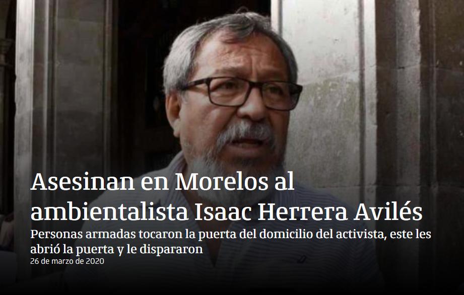 Asesinan en Morelos al ambientalista Isaac Herrera Avilés
