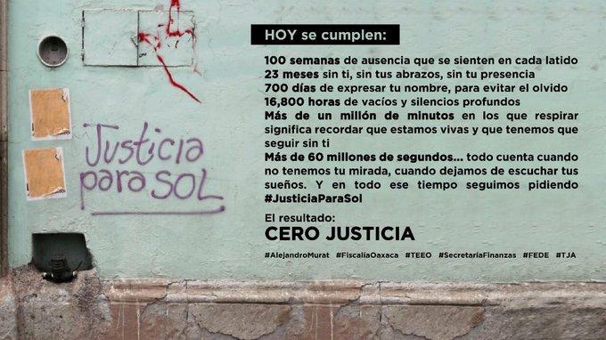 100 semanas sin Sol: periodistas y activistas exigen justicia a Gobierno y Fiscalía de Oaxaca