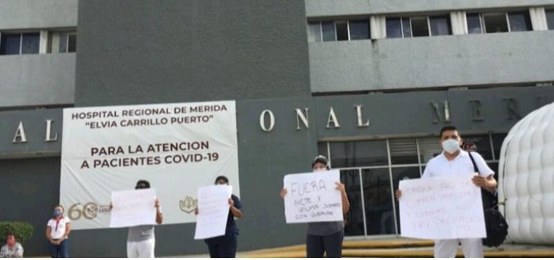 Se manifiesta personal del ISSSTE en Mérida por falta de equipo para atender a pacientes con Covid-19