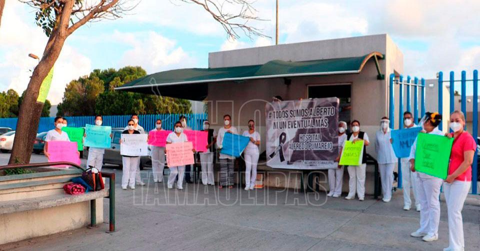 Protesta personal médico del Hospital General de Matamoros; exigen su base (Tamaulipas)