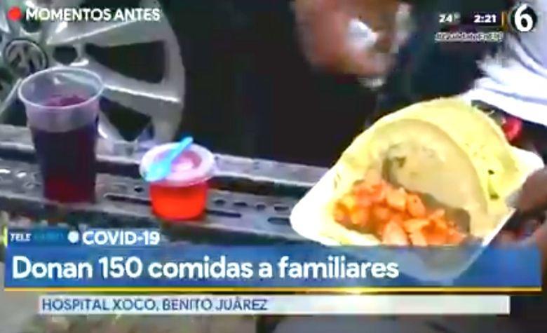 Reparten comida gratis a familiares de pacientes COVID-19 en Hospital de Xoco (Ciudad de México)