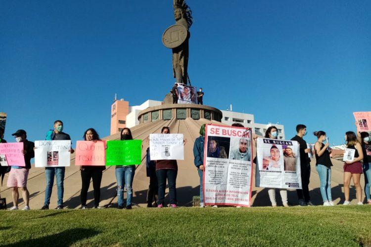Segunda manifestación por la falta de avances en investigación por desaparición Kevin Leyva y Rubén Chávez (Baja California)