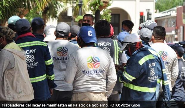 Trabajadores del Incay protestan en el Palacio de Gobierno (Yucatán)
