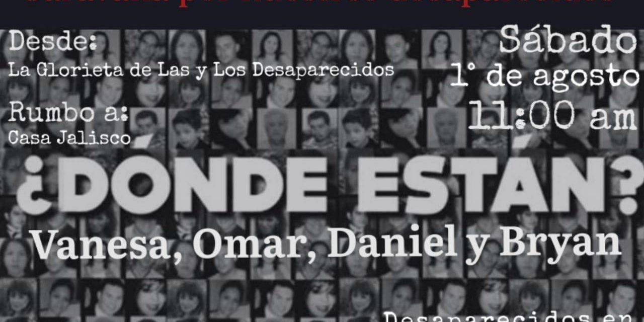 Convocan a caravana para exigir la aparición con vida de Vanesa, Omar, Bryan Y Daniel, desaparecidos en Teocaltiche, Jalisco