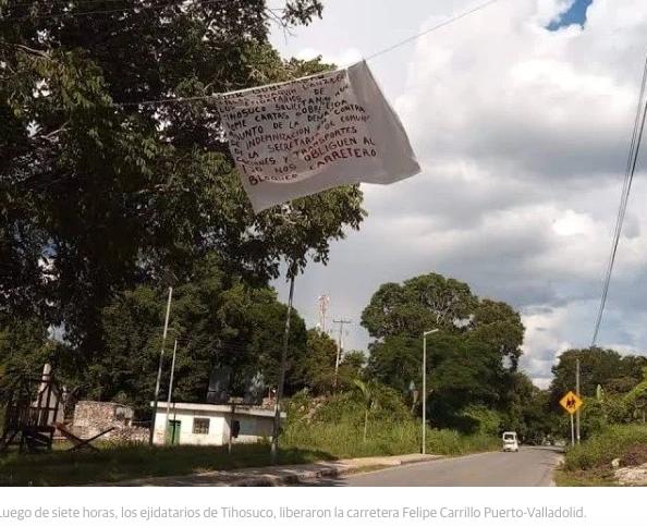 Levantan bloqueo en carretera Carrillo Puerto-Valladolid