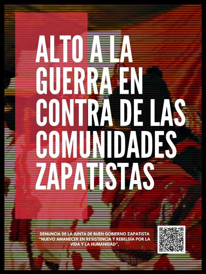 Acción en Puebla en repudio a los ataques paramilitares en contra de comunidades zapatistas